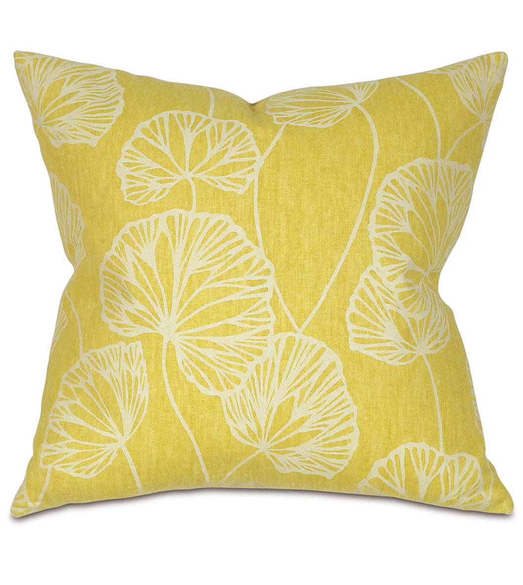 Yellow Ginko Rustic Cabin Botanical Throw Pillow Knife Edge 20