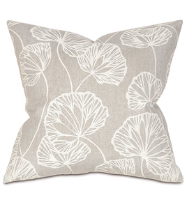 "Light Gray Ginko Rustic Cabin Botanical Throw Pillow Knife Edge 20""x20"""