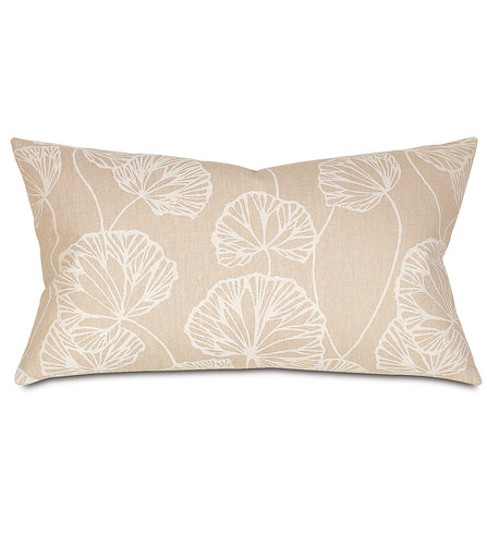 Neutral Ginko Rustic Cabin Botanical Lumbar Pillow Knife Edge 15