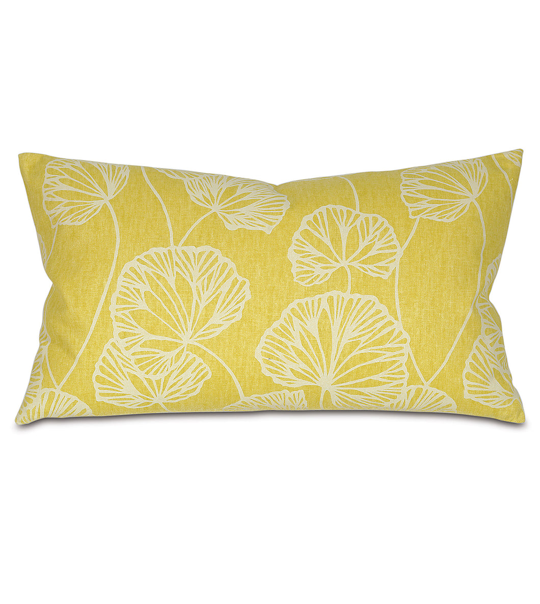 Yellow Ginko Rustic Cabin Botanical Lumbar Pillow Knife Edge 15