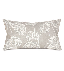 "Light Gray Ginko Rustic Cabin Botanical Lumbar Pillow Knife Edge 15""x26"""