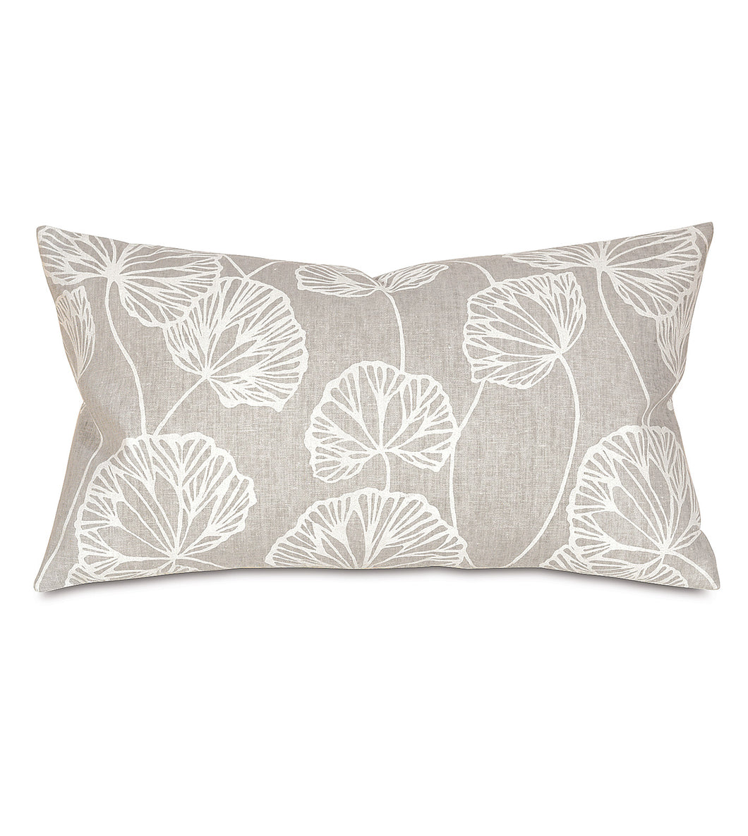 Light Gray Ginko Rustic Cabin Botanical Lumbar Pillow Knife Edge 15