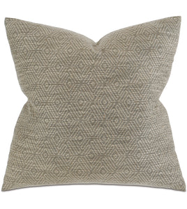 "Taupe Woven Mountain Tribal Knife Edge Throw Pillow  22""x22"""