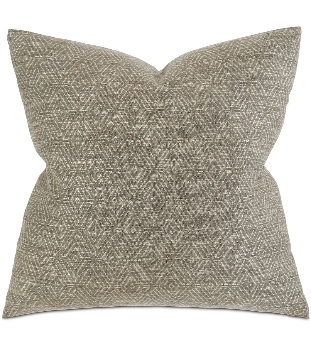 Taupe Woven Mountain Tribal Knife Edge Throw Pillow  22