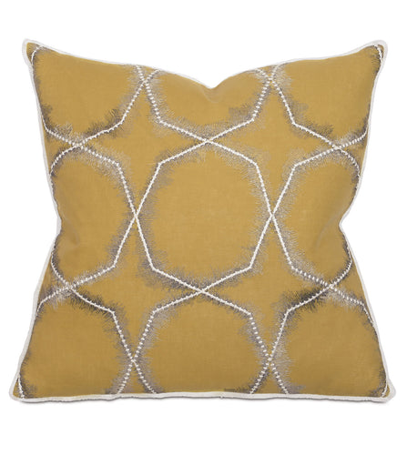 Mustard Lodge Tribal Embroidered Throw Pillow With Brush Fringe 22
