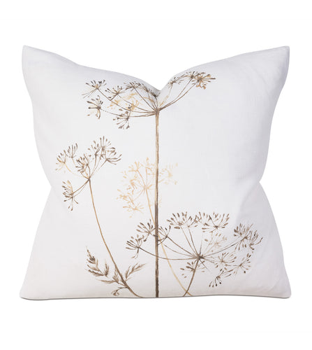 Wild Flower Luxe Mountain White Linen Throw Pillow Knife Edge 20