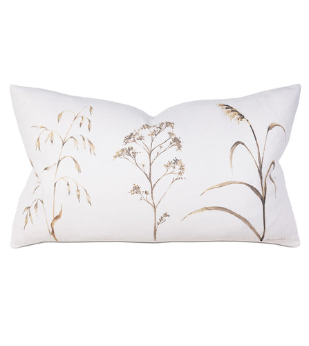 Wild Flower Mountain Lodge White Linen Lumbar Pillow Hand Painted 15
