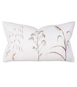 "Wild Flower Mountain Lodge White Linen Lumbar Pillow Hand Painted 15""x26"""