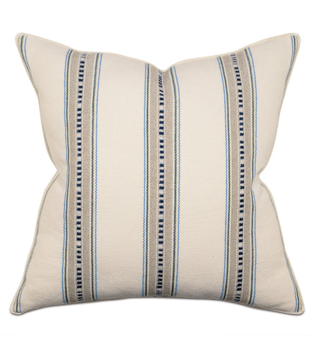Woven Tribal Stripe Neutral Throw Pillow With Brush Fringe 22
