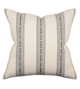 "Woven Tribal Stripe Neutral Throw Pillow With Brush Fringe 22""x22"""