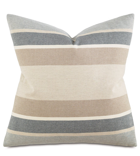 Wainscott Buff Contemporary Neutral Stripe Decorative Pillow 20