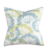 "Blue Green Spring Mountain Botanical Cotton Print Throw Pillow Knife Edge 20""x20"""