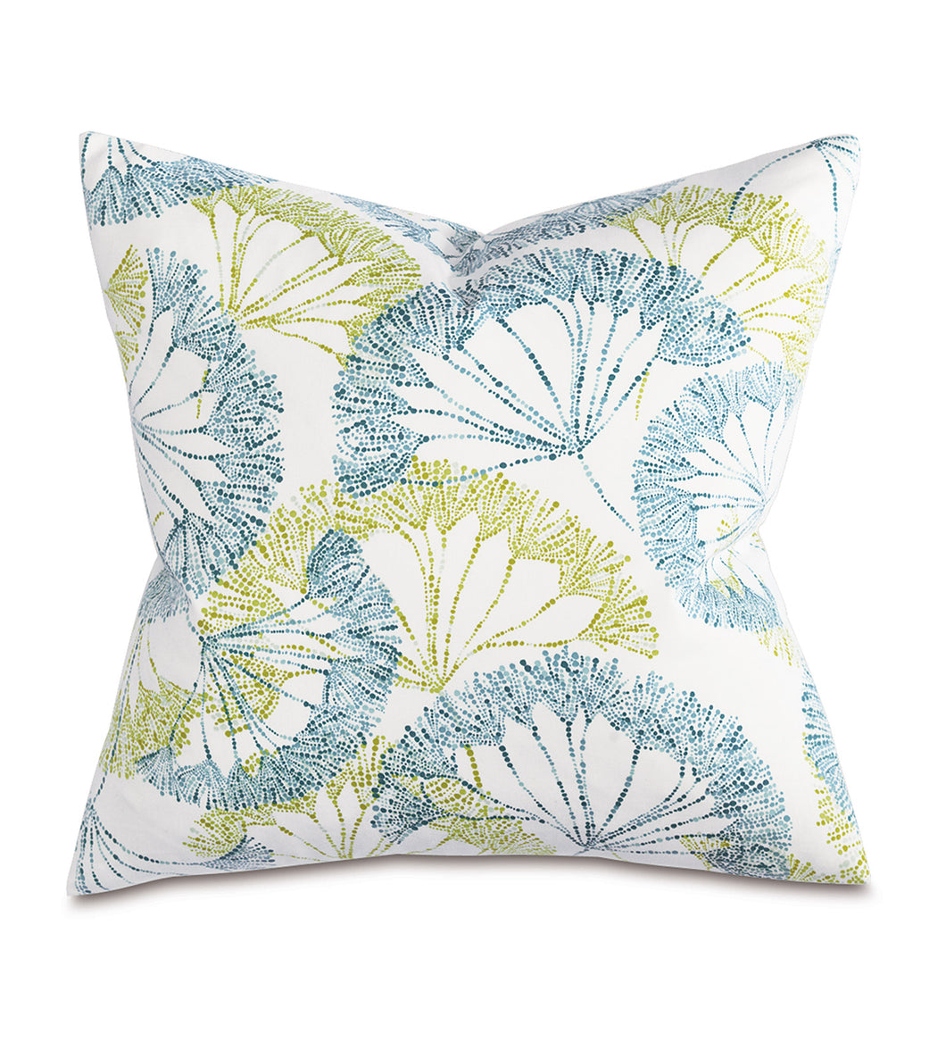 Blue Green Spring Mountain Botanical Cotton Print Throw Pillow Knife Edge 20