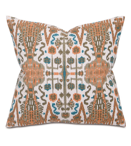 Orange and Teal Mountain Tribal Cotton Throw Pillow Knife Edge 20