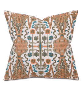 "Orange and Teal Mountain Tribal Cotton Throw Pillow Knife Edge 20""x20"""