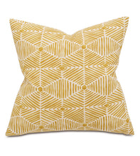 "Mustard Mountain Lodge Tribal Cotton Throw Pillow Knife Edge 20""x20"""
