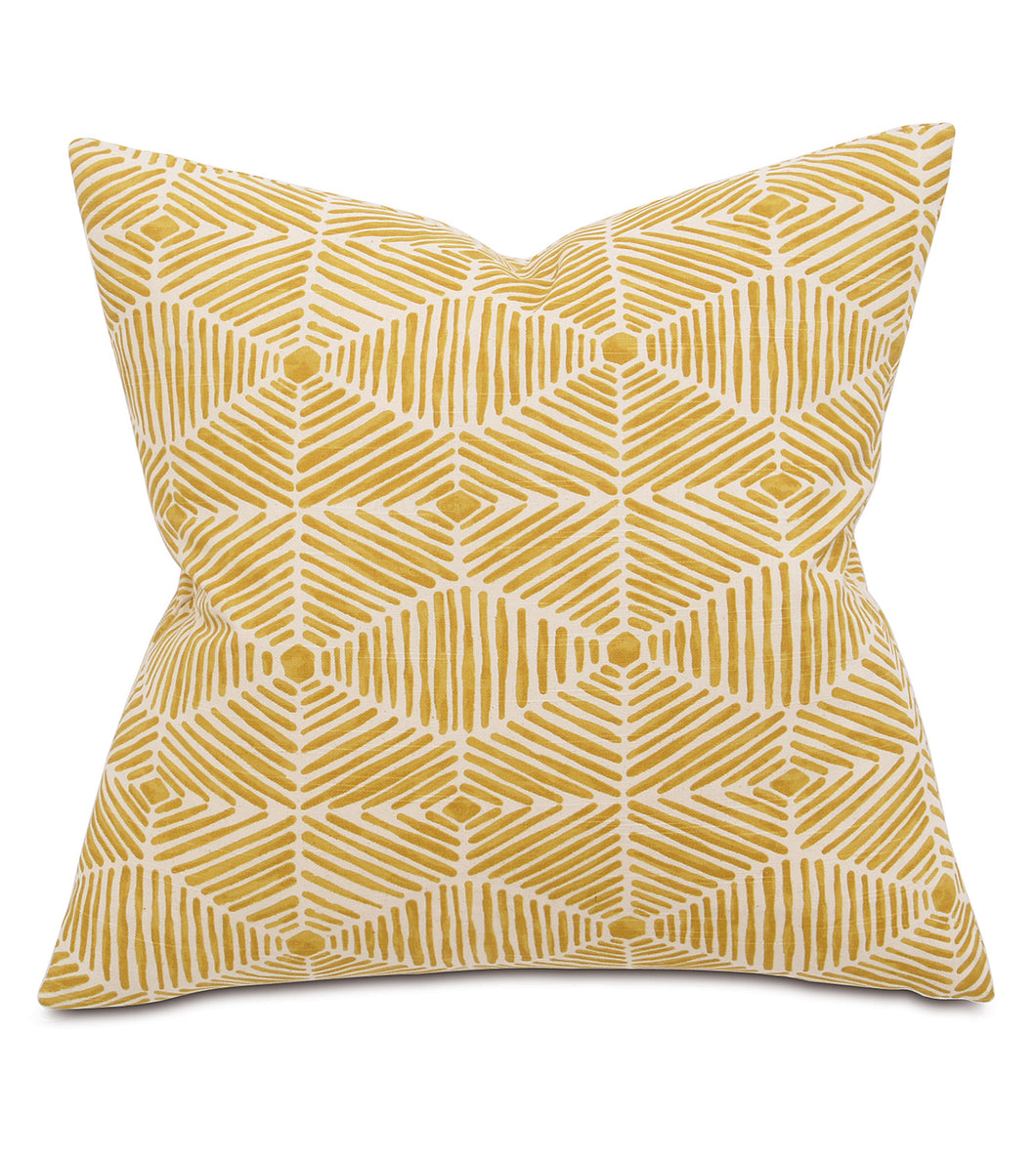 Mustard Mountain Lodge Tribal Cotton Throw Pillow Knife Edge 20