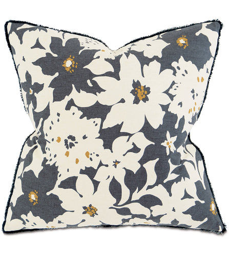 Gray Mountain Floral Botanical Throw Pillow With Brush Fringe 20