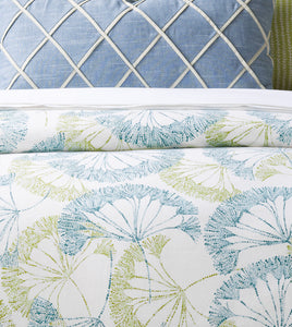 Blue Green Bolina Log Cabin Botanical Cotton Knife Edge Duvet Cover