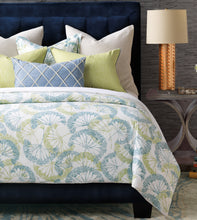 Blue Green Bolina Log Cabin Botanical Cotton Knife Edge Comforter