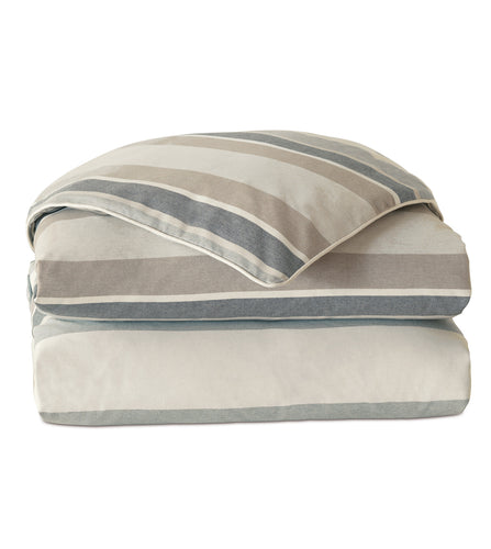 Wainscott Buff Neutral Stripe Cotton Duvet Cover