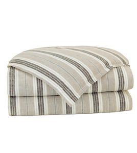 Neutral Urban Lodge Striped Linen Self Flange Duvet Cover