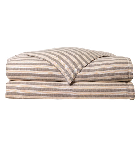 Jules Neutral Earth Rustic Cabin Stripe 100% Pure Linen Duvet Cover