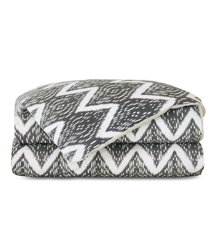 Artemis Charcoal Gray Tribal Chevron Ikat Duvet Cover
