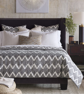 Artemis Charcoal Gray Tribal Chevron Ikat Comforter