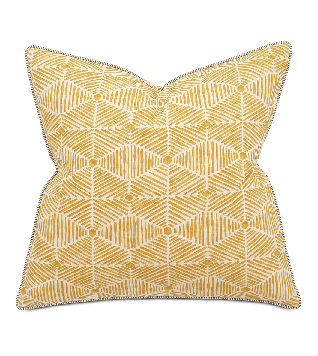 Veldman Yellow Rustic Cabin Tribal Euro Sham With Welt 27