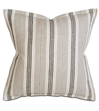 "Taupe Lodge Stripe 100% Pure Linen Euro Sham Self Flange 27""x27"""
