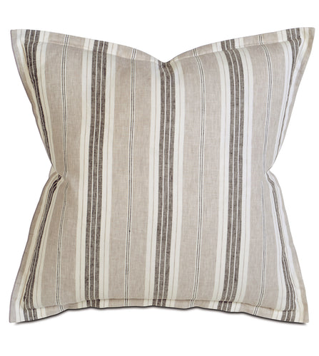 Taupe Lodge Stripe 100% Pure Linen Euro Sham Self Flange 27