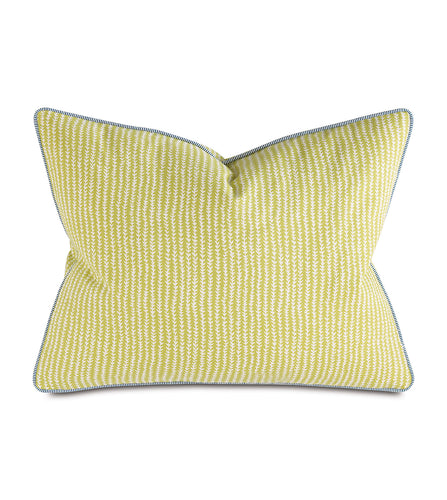 Chartreuse Abstract Forest Mountain Cotton Standard Sham With Welt 20