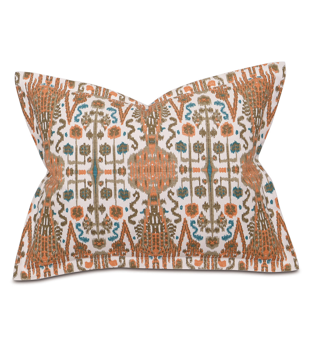 Orange Teal Mountain Tribal Standard Sham Self Flange 20