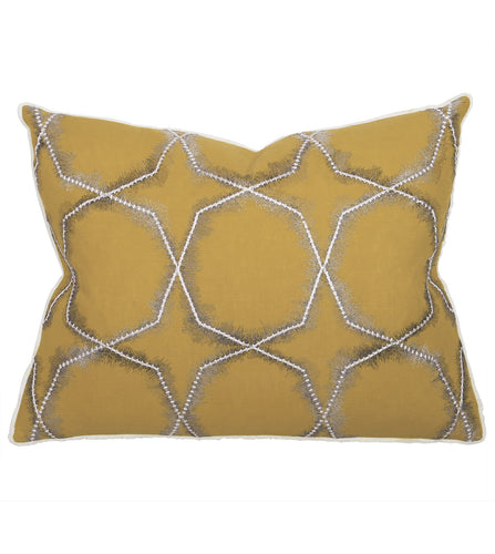 Mustard Mountain Tribal Embroidered Standard Sham With Brush Fringe 20