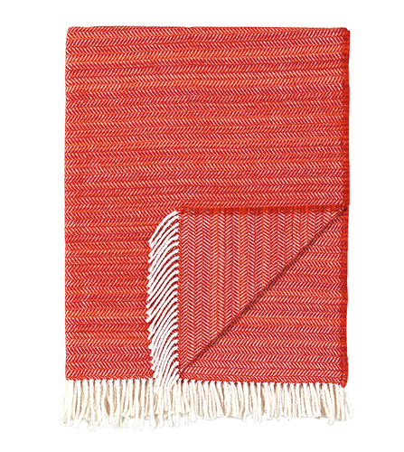 Red Rustic Cotton Blend Throw With Tassels