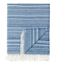Blue Stripe Rustic Cotton Blend Throw With Tassels