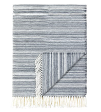 Gray Stripe Rustic Cotten Blend Throw With Tassels