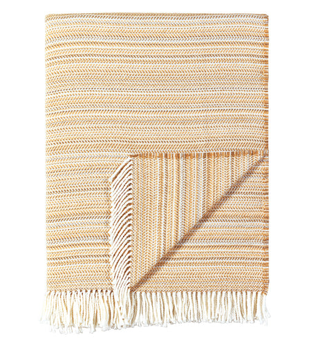 Tan Stripe Rustic Cotton Blend Throw With Tassels