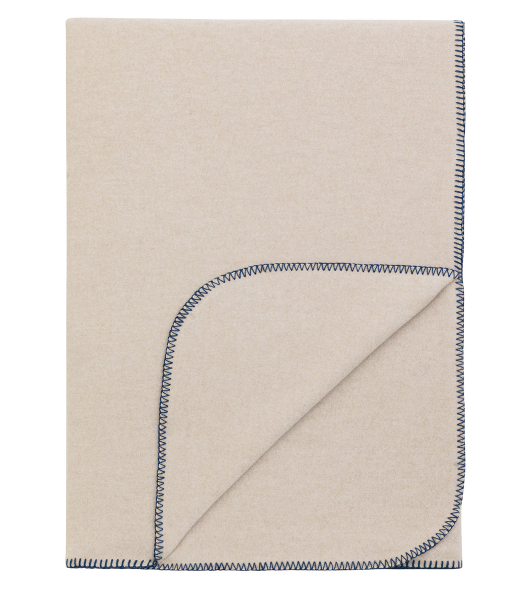 Neutral Solid Rustic 100% Cotton Throw With Blue Blanket Stitch