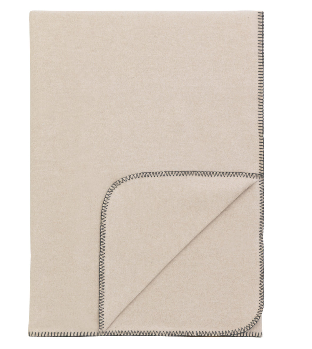 Neutral Solid Rustic 100% Cotton Throw With Gray Blanket Stitch