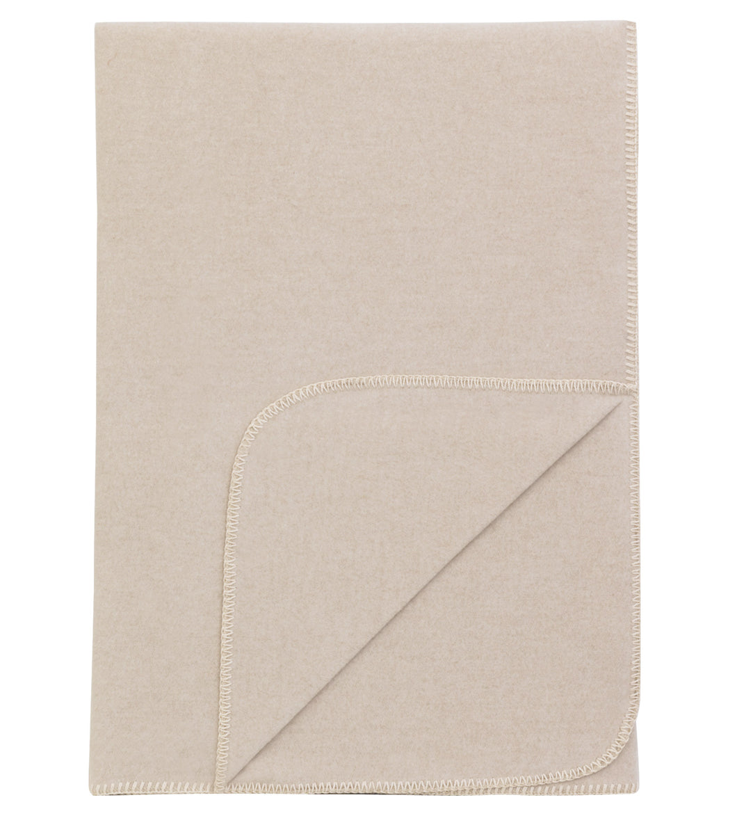 Neutral Solid Rustic 100% Cotton Throw With White Blanket Stitch