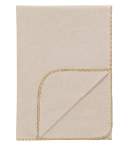 Neutral Solid Rustic 100% Cotton Throw With Yellow Blanket Stitch