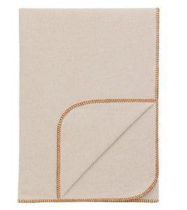 Neutral Solid Rustic 100% Cotton Throw With Orange Blanket Stitch