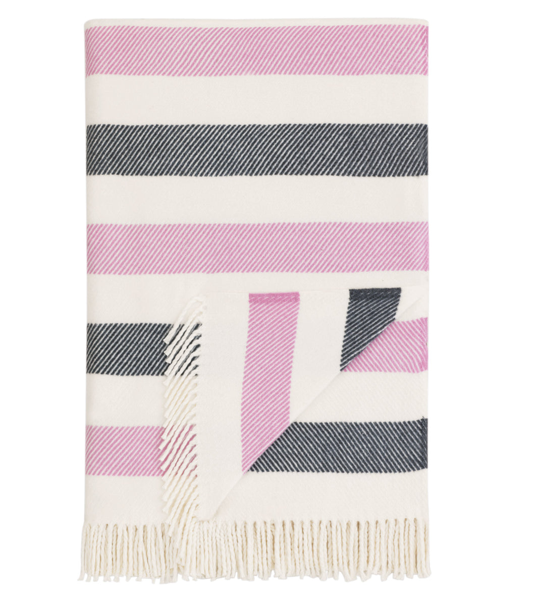 Multicolored Stripe Rustic Cotton Blend Throw With Tassels