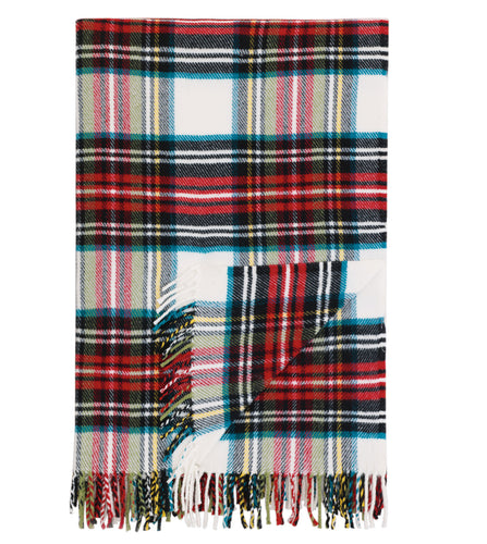 Multicolored Plaid Rustic Cotton Blend Throw With Tassels