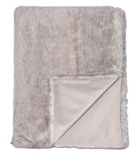 Gray Solid Rustic Faux Fur Throw