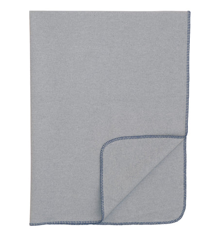 Light Gray Solid Rustic 100% Cotton Throw With Navy Stitch