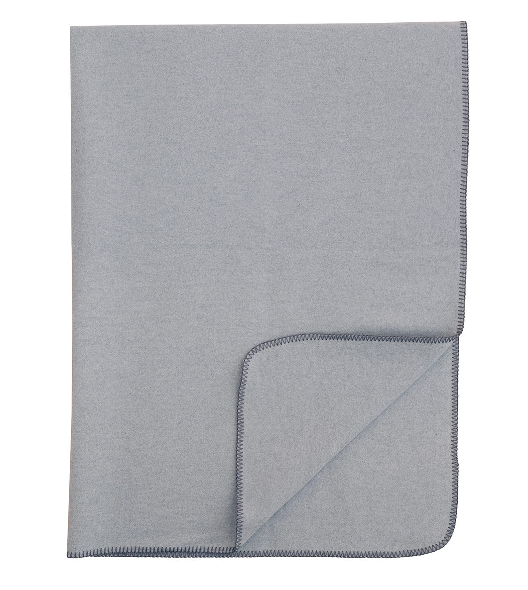 Light Gray Solid Rustic 100% Cotton Throw With Gray Stitch