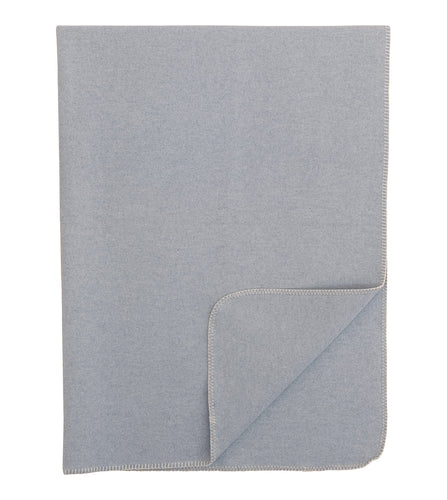 Light Gray Solid Rustic 100% Cotton Throw With Neutral Stitch